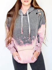 Hand Dipped Summer Nights Lightweight Fleece Long Sleeve Top with Hoodie