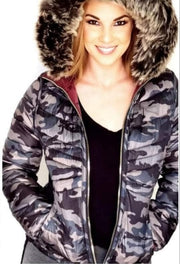Long Sleeve Reversible Camo Parka Jacket with Hood
