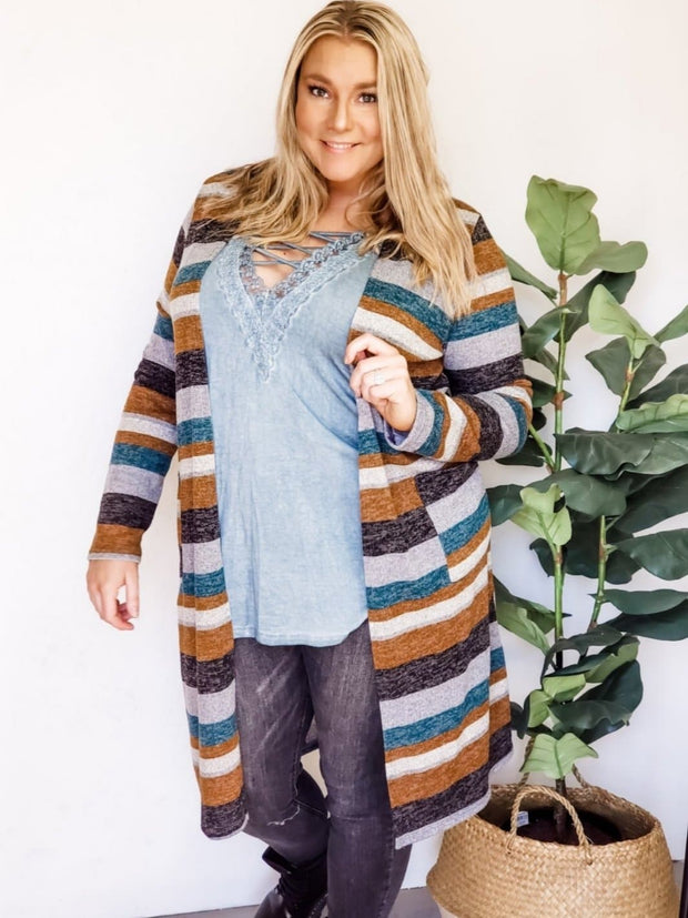 Plus Size Long Sleeve Cardigan with Pockets