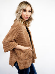 Pol - Cable Knit Slouch Cardigan with Side Pockets