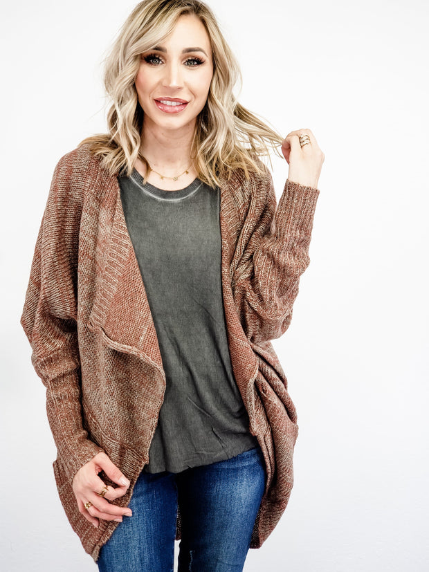 Two-Tone Open Front Draped Cardigan