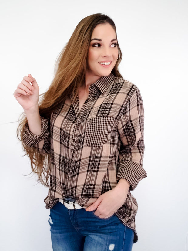 Plaid Mix Long Shirts