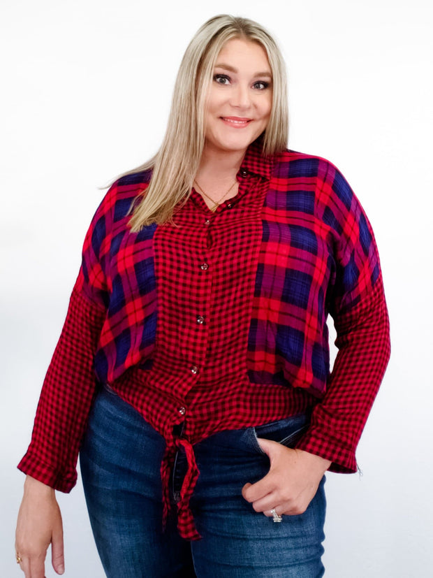 Plaid and Checkered Mixed Print Top (S-2XL)
