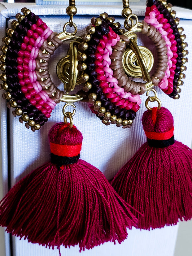 Seed Bead with Fringe Earrings