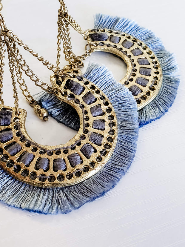 Gold Chain Drop Fringe Earrings