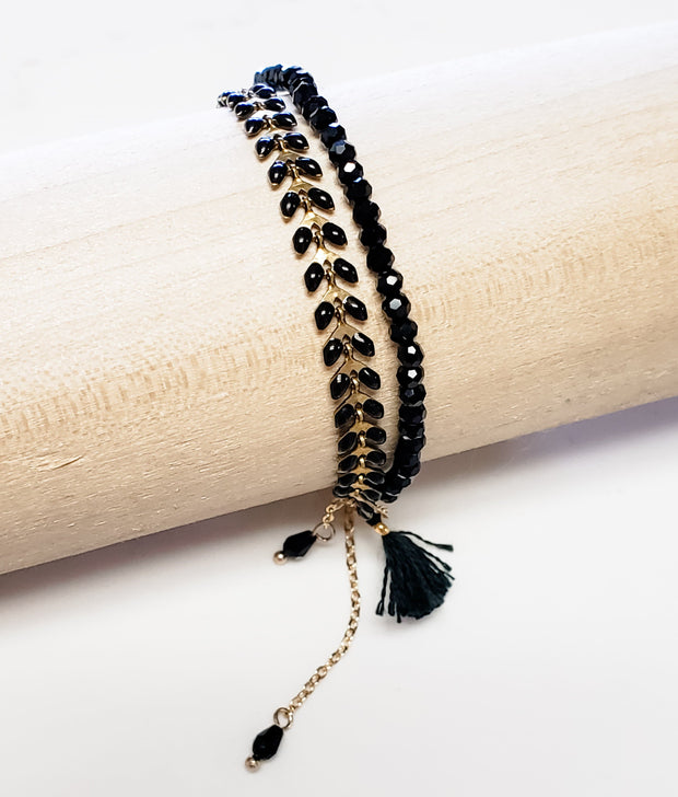 Black and Gold Bracelet with Adjustable Chain