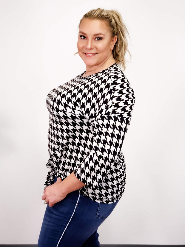 Plus Size Hounds Tooth Print Top with Tie Detail