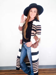 Long Sleeve Stripe Open Front Cardigan with Pockets (S-3XL)