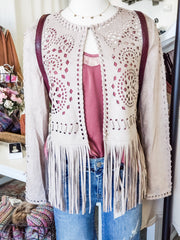 Hippie Long Sleeve Top with Fringe Detail