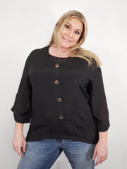 Bell Sleeve V-Neck Faux Button Top (S-2XL)