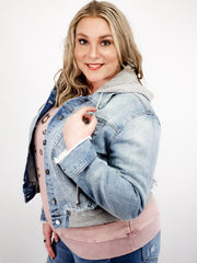 Plus Size Denim Jacket with Terry Patch