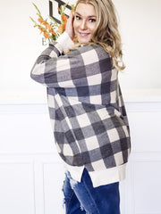 Plus Size Long Sleeve Plaid Top