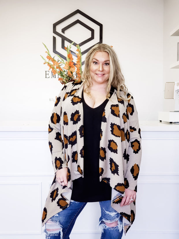 Animal Print Waterfall Cardigan (S-3XL)