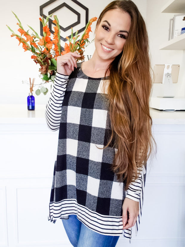 Plaid Long Sleeve Top with Striped Trim