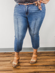 Judy Blue - Plus Size Cropped Straight Leg with Leopard Sash/Belt