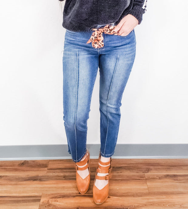 Judy Blue - Cropped Straight Leg Jeans with Leopard Sash/Belt
