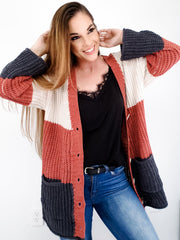 Pol - Chenille Cardigan with Contrast Color Stripes