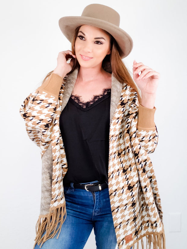 Multi-Color Houndstooth Sweater Shawl Scarf Cardigan