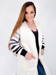 Long Striped Sleeve Open Cardigan with Pockets