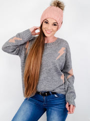 Lightning Bolt Pattern Loose-Fit Knit Sweater