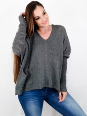 Solid V-Neck Knit Sweater with Two Front Pockets