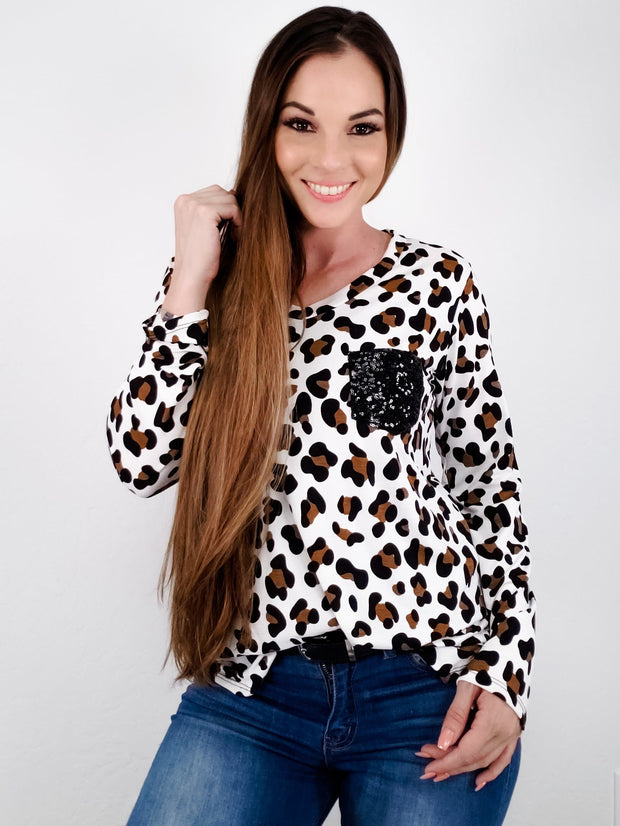 Long Sleeve Animal Print Top with Sequins Pocket (S-3XL)