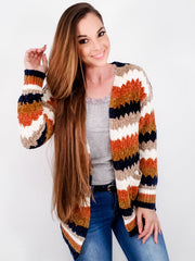 Multi Striped Sweater Cardigan