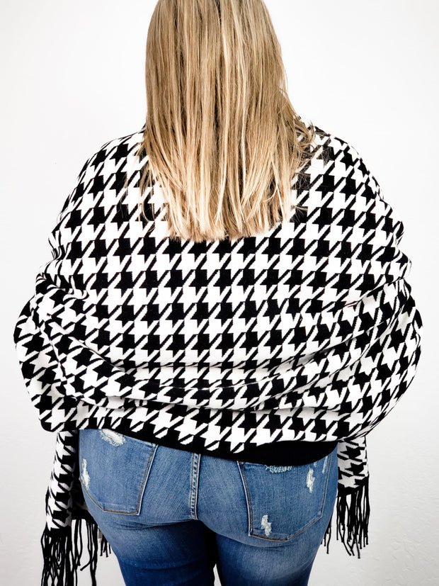 Houndstooth Sweater Shawl Scarf Cardigan