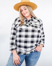 Plaid Popover Button Up Tunic with a Raw Hem