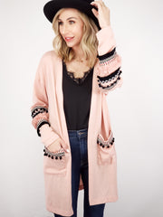 Tassle Pom Detail Sweater Cardigan
