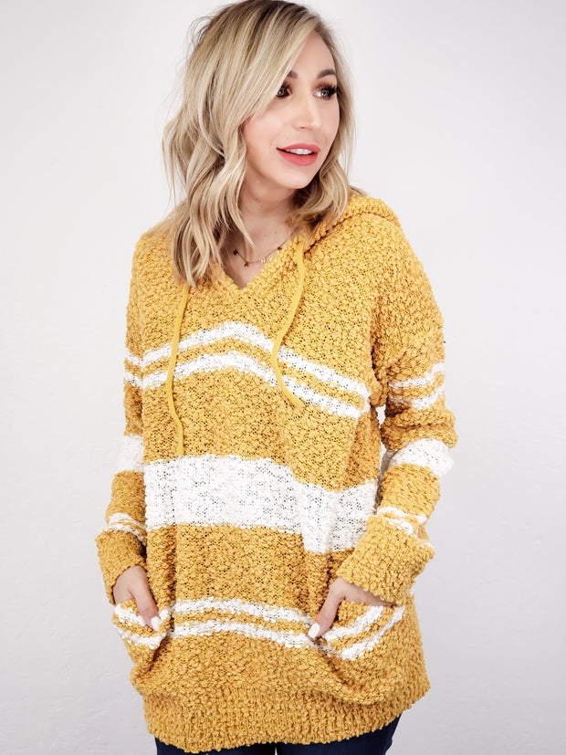 Striped Popcorn Sweater with Hoodie