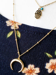 Gold Layered Necklace with Crescent Moon
