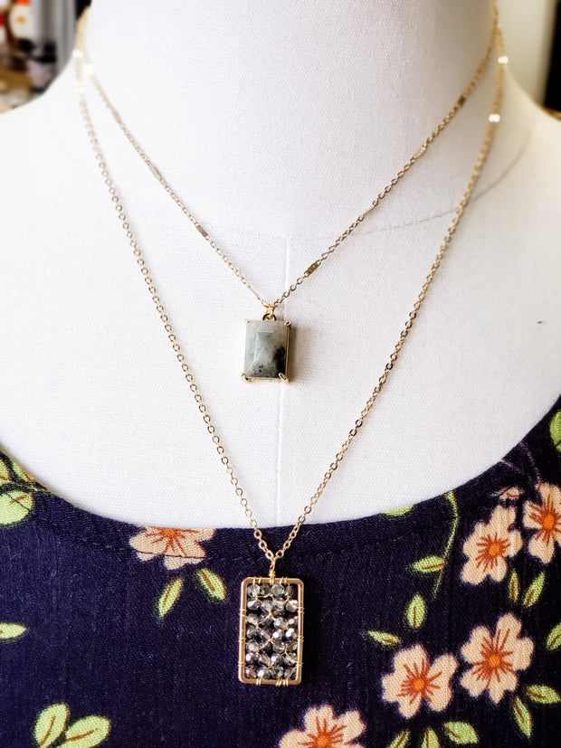 2 Layer Rectangle Necklace