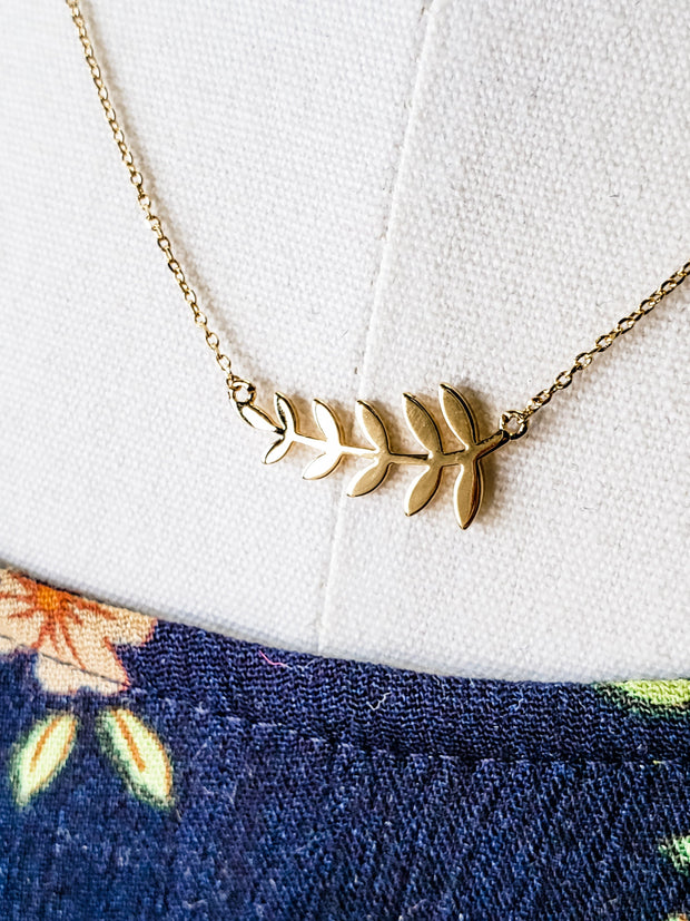 Gold Necklace with Leaf Detail