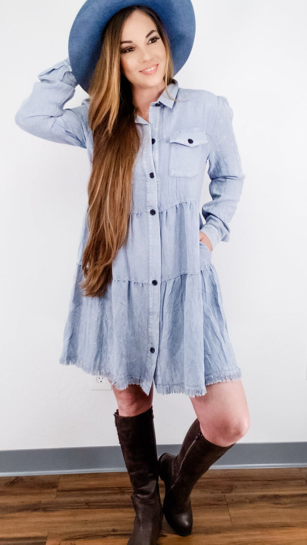 Garment Dye Long Sleeve Button Front Collared Tiered Ruffle Dress with Frayed Hem and Chest Pockets (S-2XL)
