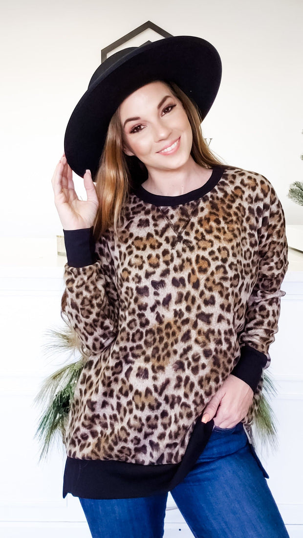 Leopard Long Sleeve Top with Border Detail (S-3XL)