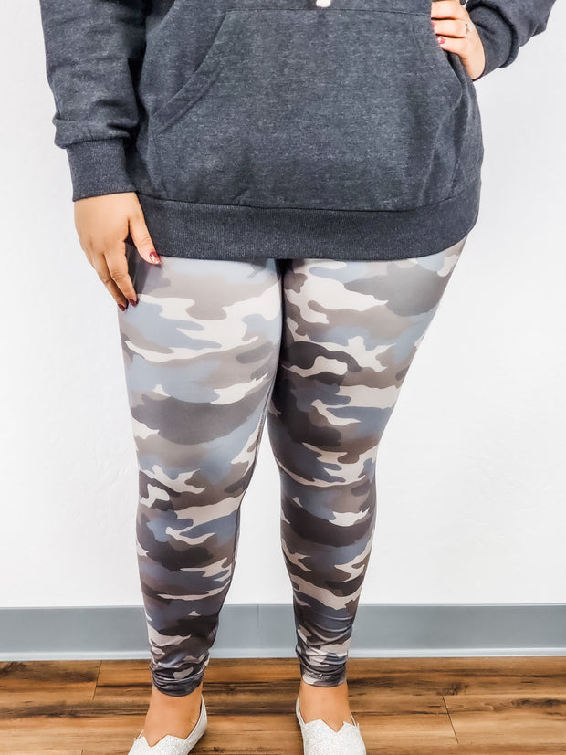 Plus Size Full Length Camo Leggings with Wide High Waist Band
