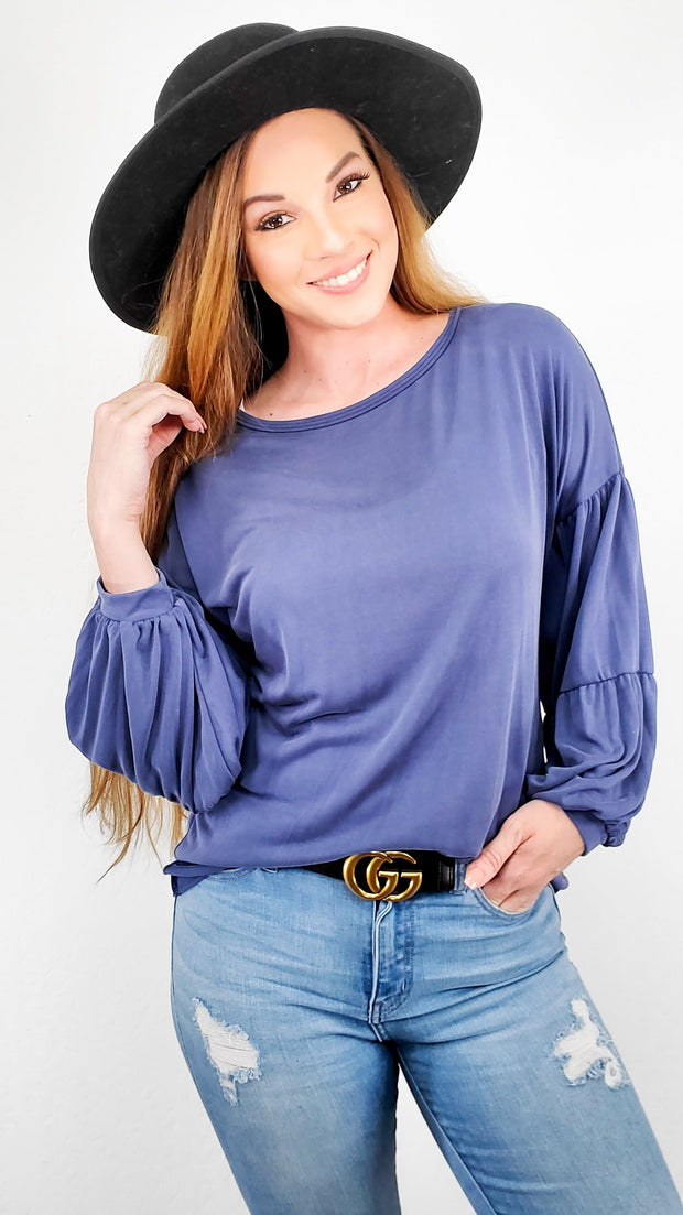 Solid Long Sleeve Top with Balloon Sleeves (S-3XL)