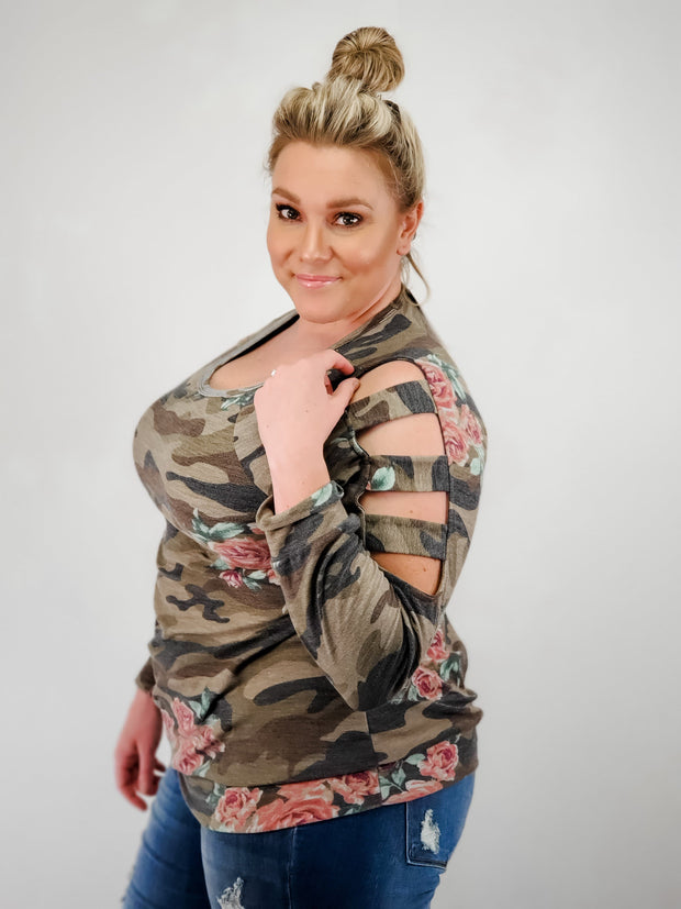 Camo and Floral Print Ladder Long Sleeve Top (S-3XL)