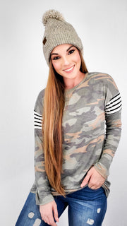 Camo and Stripe Contrast Top (S-3XL)