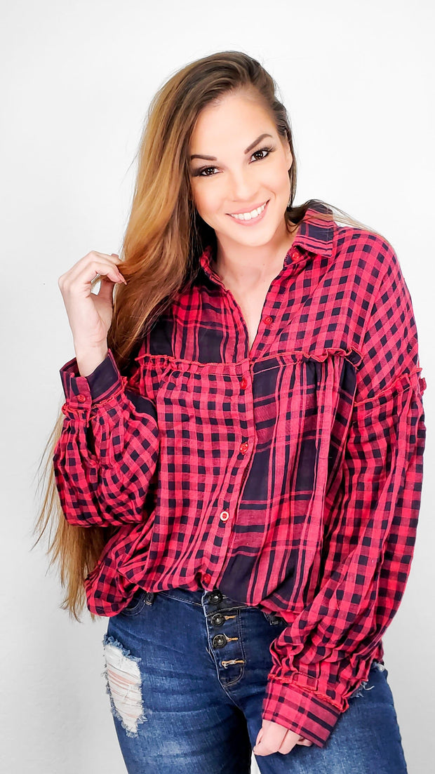 Plaid and Checkered Long Sleeve Button Up Collared Top  (S-2XL)