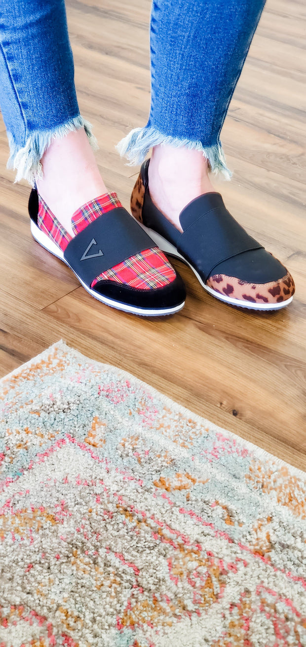 Volatile Memory Foam Sneakers - Plaid and Leopard