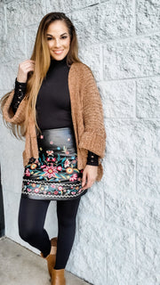 Floral Embroidered Vegan Leather High Waist A-Line Mini Skirt