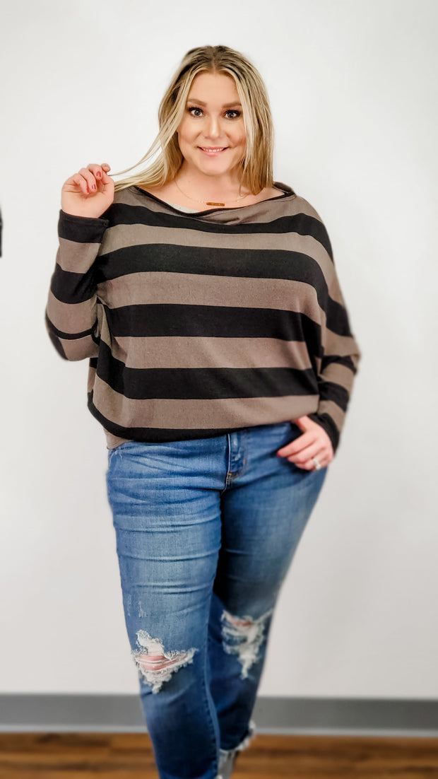 Stripe Top with One Shoulder Detail (S-3XL)