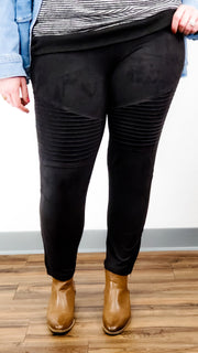 High Waisted Suede Moto Jeggings with Ankle Zippers (S-2XL)