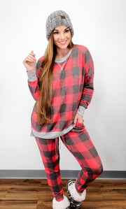 Long Sleeve Plaid PJ Top (S-3XL)