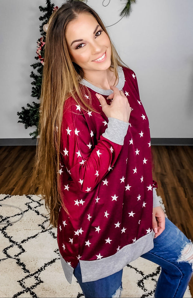 Long Sleeve Top with Star Detailing (S-3XL)