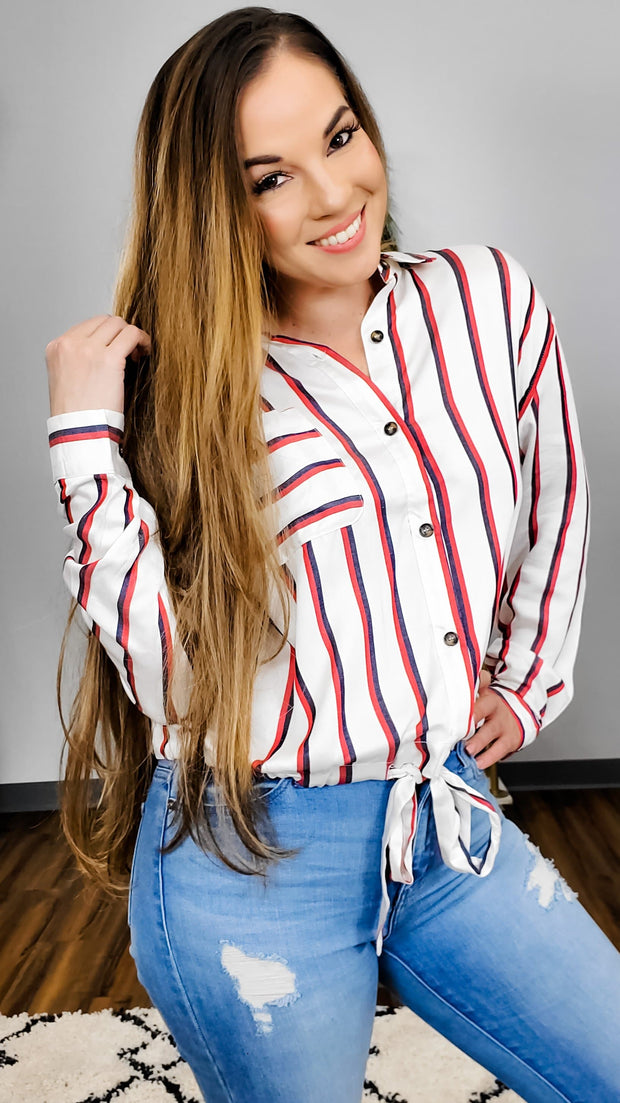 Easel - IN HOUSE BUTTON DOWN STRIPE TOP