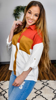 Long Sleeve Color Block Collar Top