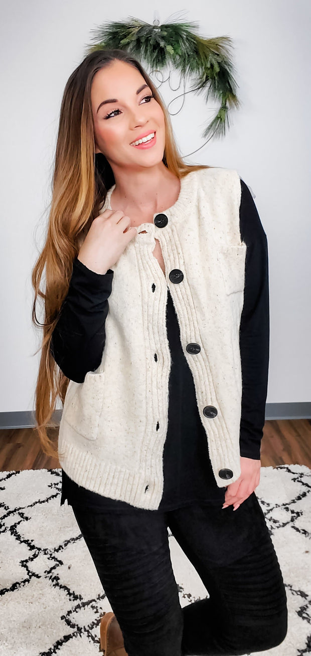 Pol - Cozy Vest with Patch Pocket and Button Down Closure with Rib Panel